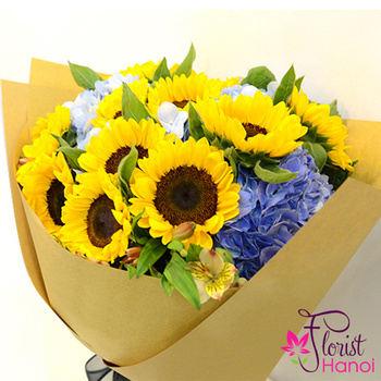 Sunflower birthday bouquet in Hanoi free shipping
