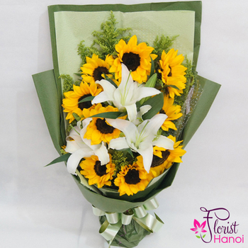 Sunflower mixed white lilys