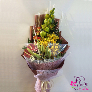 Orchid bouquet arrangement free delivery