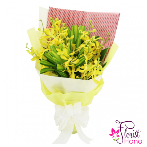 Flowers mokara orchid bouquet yellow colour