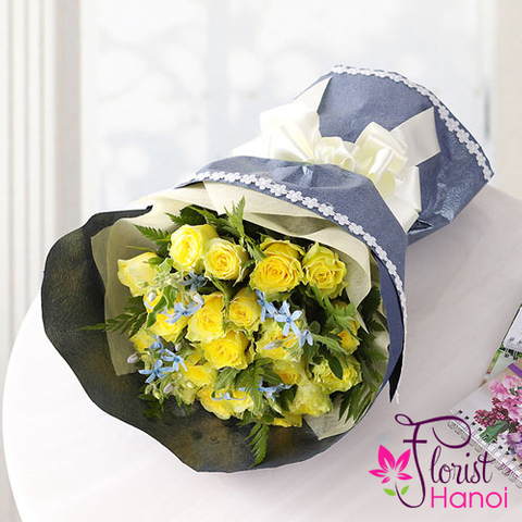 Yellow roses for birthday in Vietnam