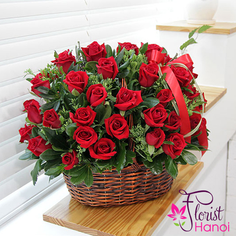 Love romantic from basket flowers in Hanoi city