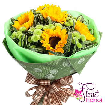 Bouquet of sunflowers and calimero order online