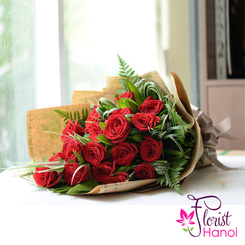 Beautiful red rose bouquet in Vietnam