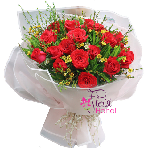 Hanoi bouquet of red rose for love