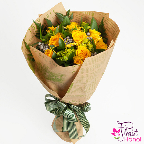 Yellow roses bouquet for birthday