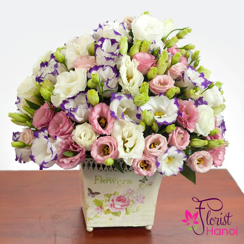 Basket of lisianthus flowers Vietnam