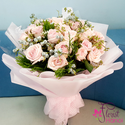 Birthday flowers with pink roses