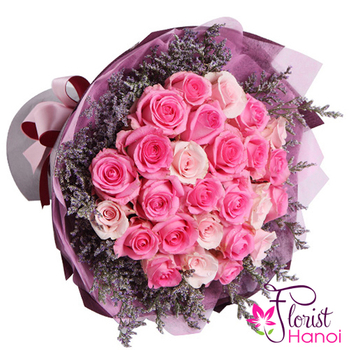 order pink rose bouquets in vietnam