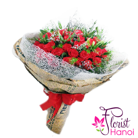 Bouquet of lovely red roses Vietnam flower shop