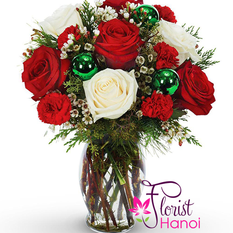 Christmas flowers with vase