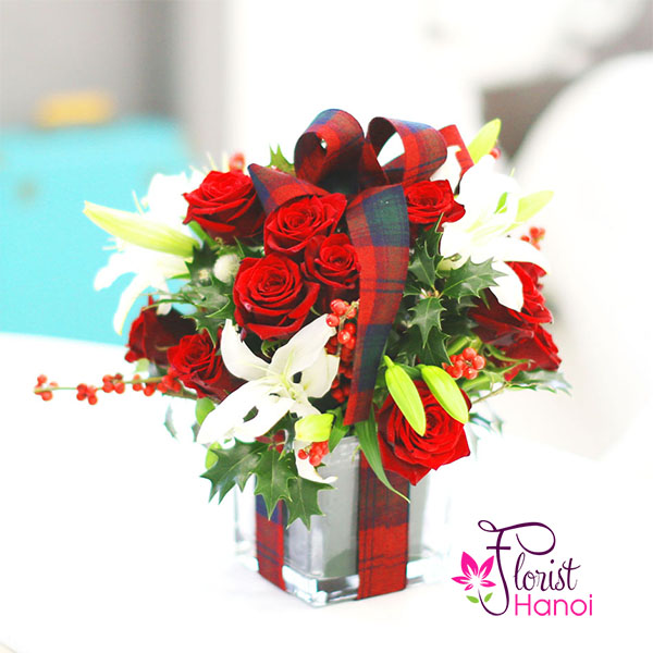 Christmas red roses and white lilies