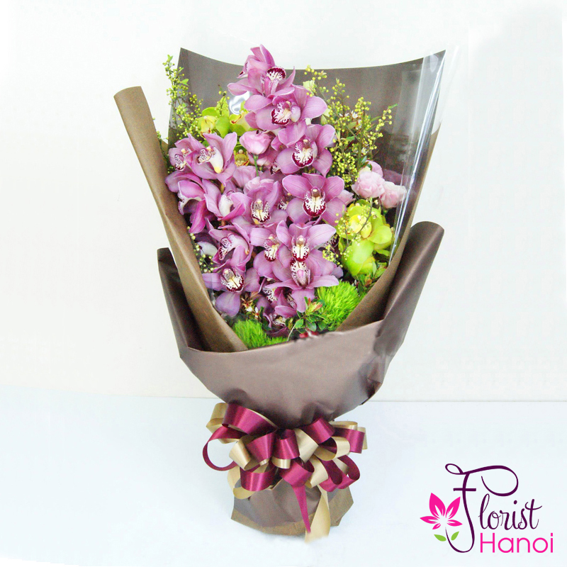 Purple orchid flower bouquet delivery now