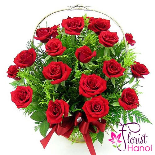 image beautiful red rose basket