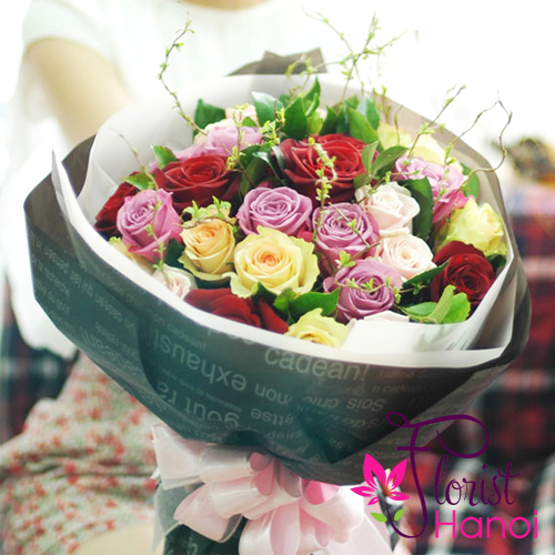 Colorful roses flowers bouquet
