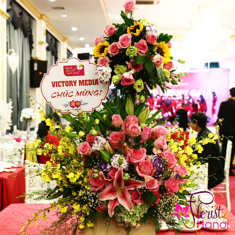 Congratulations flower basket in Hochiminh city