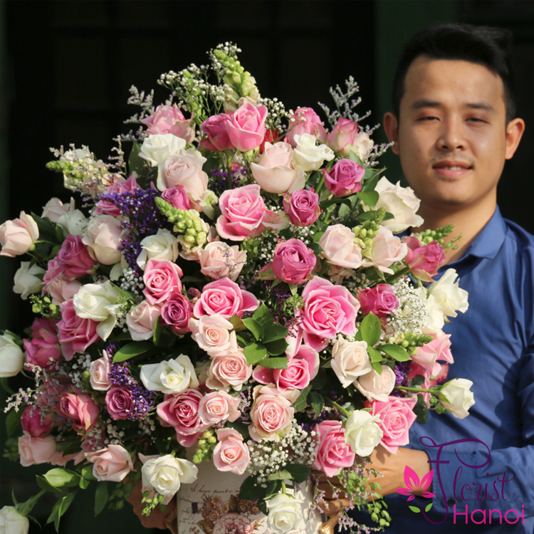 Happy birthday with flowers congratulation in Hanoi