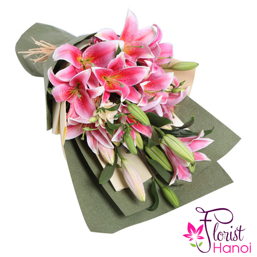 Pink lily flower bouquet delivery to Hanoi