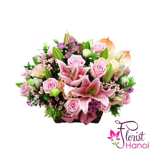 Send pink flowers arrangement to Hanoi