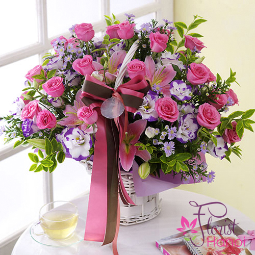 Pink roses flowers Hanoi for birthday online shop