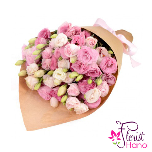 Beautiful pink lisianthus bouquet